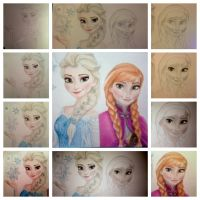 WIP Elsa and Anna by tanjadrawing