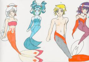 merfolk adoptable set(4/4 SOLD) by Azure-wolf96