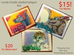 Rectangle badge commissions available! by nightspiritwing