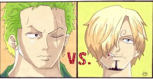Zoro vs. Sanji by asiajb