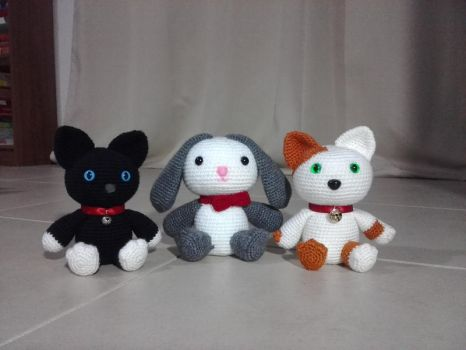 Cute Cats and Bunny Amigurumi (!!!For Sale!!!) by OnlyIfItsFluffy
