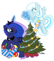 Princess Luna, adult Snowdrop and Christmas Tree by AgnessAngel
