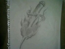 Dagger and Heart Drawing by Richyreynolds