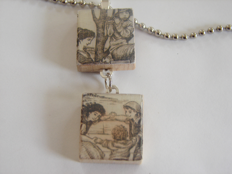 Vintage Duo Scrabble Pendant by PastryStitches