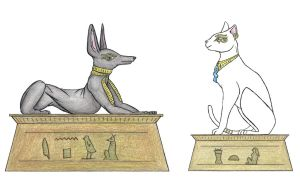 Anubis and Bastet by FroggyDreams