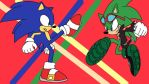 Sonic and Scourge Fight by TheHedgehogMaria