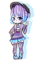 Pastel goth chibi + How to draw video by Cyarin