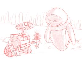 Wall-E and EVE (sketch) by Sawuinhaff
