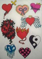 Page of Tattoos IV: Hearts by bueatiful-failure