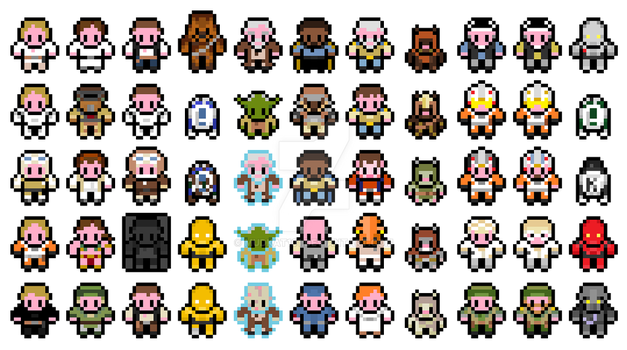 Pixel Star Wars Original Trilogy sprites PART 1 by mudkat101