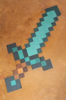 Cardboard Minecraft Diamond Sword by CharmandersFlame