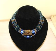 Blue & Gold Collar Necklace by SuperferretIX