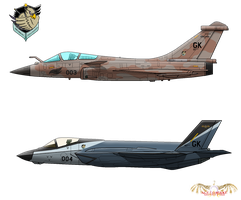 Rafale-C 'Kestrel' and F-35A 'Kite' by slowusaurus