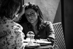 Woman at cafe b/w by attomanen