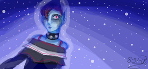 Blue skinned space chick by cellytron