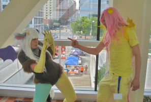 Eris / Discord and Fluttershy@ BronyCon 2013 by Rizden