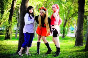 Hinata, naruko and sakura by PrisCosplay