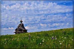 Wooden Church on a Meadow by Sulde