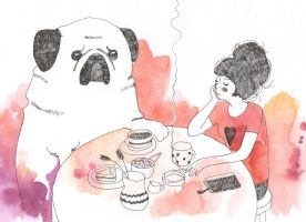 tea with mr. pug... by Wik86