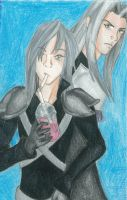 Kadaj and Sephiroth by daggerhime