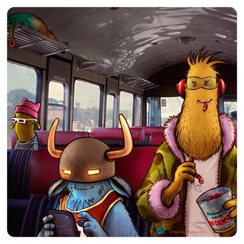 On the bus by Petewoo