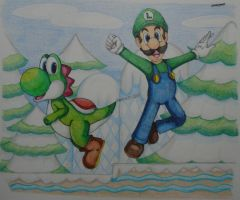 Luigi and Yoshi by Freddy-Kun-11