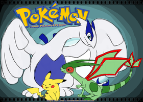 Lugia, Pikachu and Flygon by RavenEvert