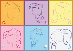 Minimalist Mane Six by Midnight6-6-6