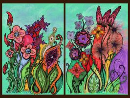 Fleurs Sauvages Diptych by PeriwinklePaisley