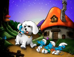 Smurf Family - Walking the Dog by adamspruijt