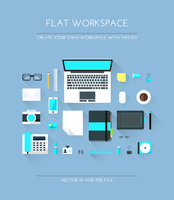 Freebie - Flat Workspace Elements by GraphBerry