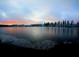 sunset in winter by KariLiimatainen