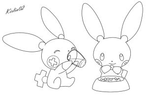 Plusle and Minun Lineart by Kirlia02