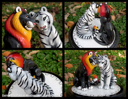 Fanged Lion And White Tiger - Wedding Cake Topper by WildSpiritWolf