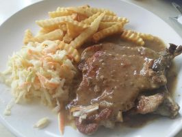 Pork Chop with Fries and Coleslaw by nosugarjustanger