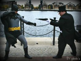 Batman vs. Penguin by sjbonnar