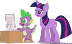 Spike and Twilight Sparkle by Arc-Ecclesia