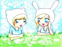 Finn and Fionna by SakuraYagami