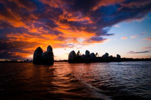 Thames Barrier At Dusk by MarcusT