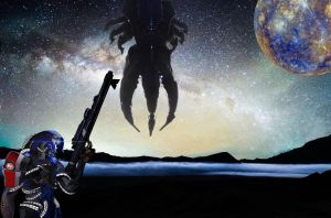 Mass Effect - Legion with Milky Way and Mercury by iDEZUS