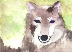 Water paint wolf by LArtistaRibelle