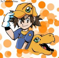 Tai and Agumon cap by Spirit-woods
