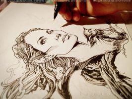 Maleficent fan art in progress by leemarej