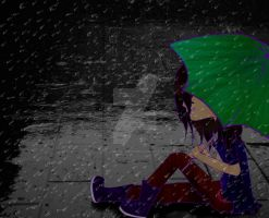 In the rain... by Yel-Music-Dark