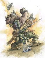Leonardo vs. Rocksteady by ryryleeart