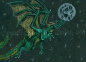 Night Flight Dragon ACEO by The-GoblinQueen