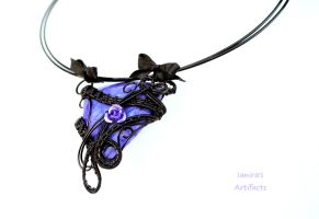 Purple Agate wire wrapped goth pendant by IanirasArtifacts
