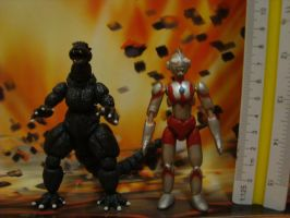 Godzilla and Ultraman by mayozilla
