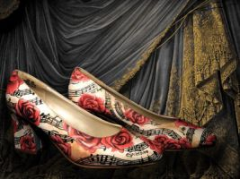 Roses and Night Music Painted Shoes by LaPointeVArt