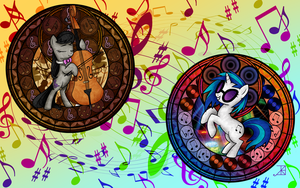Two Music Lover Ponies -Wallpaper- by Akili-Amethyst